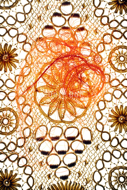 lace with orange mesh lines