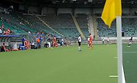 DEN HAAG - Een enorme altand tussen de zijlijn en de dug out. het Nederlands heren hockeyteam speelt zondag een oefenwedstrijd tegen Maleisie. Het is de eerste wedstrijd van Oranje  in het Koycera Stadion ter voorbereiding op de World Cup hockey die van 31mei t/m 15 juni in Den Haag plaats vindt. ANP KOEN SUYK
