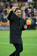 Norwich City Manager Daniel Farke gives the fans a thumbs up after the EFL Sky Bet Championship match between Norwich City and Sheffield Wednesday at Carrow Road, Norwich, England on 19 April 2019.