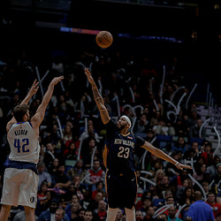 Dec 29, 2017; New Orleans, LA, USA; Dallas Mavericks forward Maximilian Kleber (42) shoots over New Orleans Pelicans forward Anthony Davis (23) during the second half at the Smoothie King Center. The Mavericks defeated the Pelicans 128-120.  Mandatory Credit: Derick E. Hingle-USA TODAY Sports