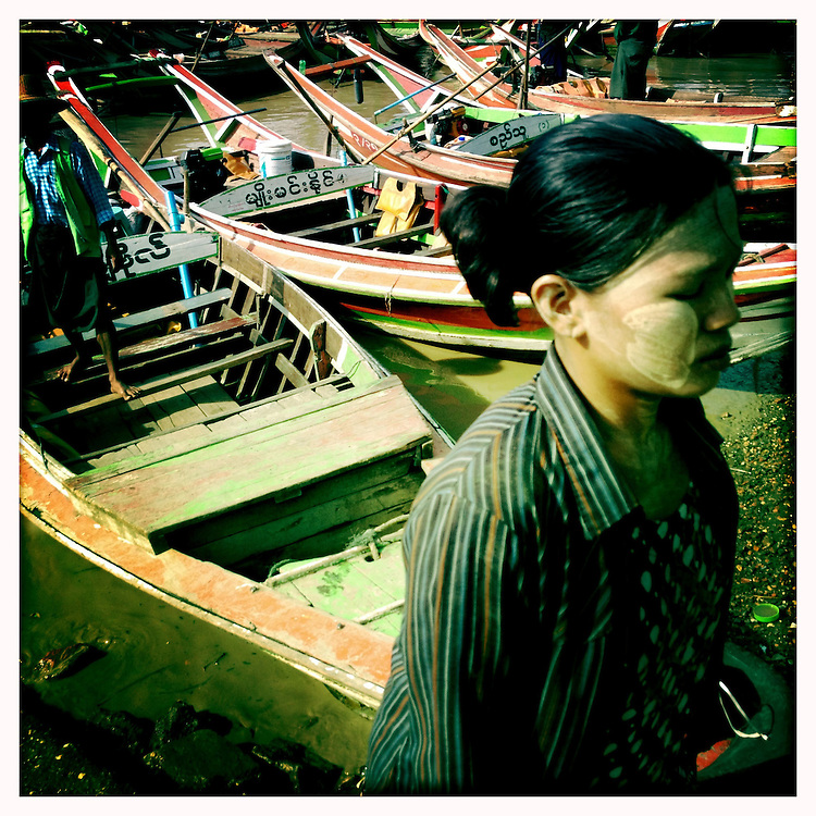 Boats ferry locals across the river from Dallah to Yangon (Rangoon), Myanmar (Burma)