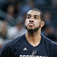03 May 2017:  San Antonio Spurs forward LaMarcus Aldridge (12) is seen prior to the San Antonio Spurs 121-96 victory over the Houston Rockets, in game 2 of the Western Conference Semi Finals, at the AT&T Center, San Antonio, Texas, USA.