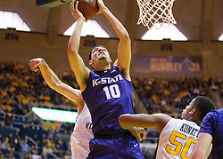 Feb 11, 2017; Morgantown, WV, USA; Kansas State Wildcats forward Isaiah Maurice (10) shoots during the first half against the West Virginia Mountaineers at WVU Coliseum. Mandatory Credit: Ben Queen-USA TODAY Sports