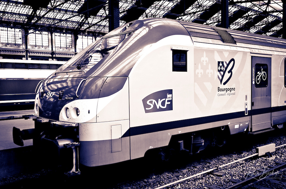 Trains inside Gare de Lyon, Paris, France
