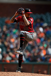 SAN FRANCISCO, CA - MAY 26: Yoan Lopez #50 of the Arizona Diamondbacks pitches against the San Francisco Giants during the eighth inning at Oracle Park on May 26, 2019 in San Francisco, California. The Arizona Diamondbacks defeated the San Francisco Giants 6-2. (Photo by Jason O. Watson/Getty Images) *** Local Caption *** Yoan Lopez