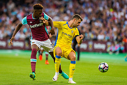 Reece Oxford of West Ham and Antonio Mance of NK Domzale during 2nd Leg football match between West Ham United FC and NK Domzale in 3rd Qualifying Round of UEFA Europa league 2016/17 Qualifications, on August 4, 2016 in London, England.  Photo by Ziga Zupan / Sportida