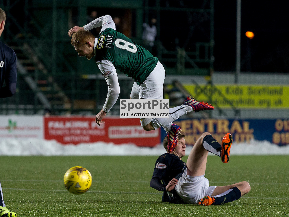 Falkirk v Hibernian   SPFL season 2015-2016  <br /> <br /> Paul Watson (Falkirk) slides in on Fraser Fyvie (Hibernian) during the Ladbrokes Championship match between Falkirk v Hibernian at Falkirk Stadium on Sunday 17 January 2016<br /> <br /> Picture: Alan Rennie
