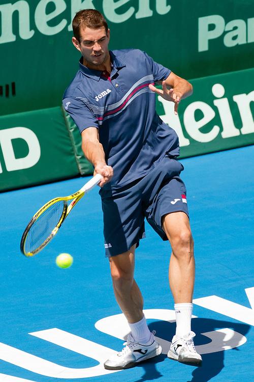 Spain's Guillermo Garcia-Lopez in his quarterfinal singles match against Spain's Fernando Verdasco at the Heineken Open Men's Tennis Tournament, Auckland, New Zealand, Friday, January 13, 2012.  Credit:SNPA / David Rowland