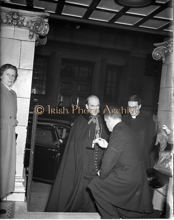 """21/12/1952<br /> 12/21/1952<br /> 21 December 1952<br /> Archbishop John McQuaid arriving at the Capitol Theatre Dublin for Our Lady's Choral Society and the Radio Eireann Symphony Orchestra's production of Handel's """"Messiah""""."""