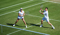 LONDON, ENGLAND - Saturday, June 30, 2012: Kenneth Skupski (GBR) and Melanie South (GBR) during the Mixed Doubles 2nd Round match on day five of the Wimbledon Lawn Tennis Championships at the All England Lawn Tennis and Croquet Club. (Pic by David Rawcliffe/Propaganda)