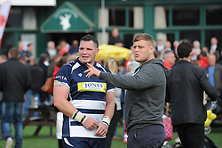 Bristol Rugby replacement James Phillips speaks with a fan - Mandatory byline: Dougie Allward/JMP - 07966 386802 - 13/09/2015 - RUGBY UNION - Old Deer Park - Richmond, London, England - London Welsh v Bristol Rugby - Greene King IPA Championship.