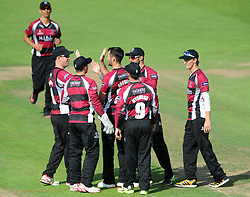 Lewis Gregory of Somerset celebrates with team mates as Peter Handscomb of Gloucestershire is caught by Michael Bates of Somerset for 0 - Photo mandatory by-line: Dougie Allward/JMP - Mobile: 07966 386802 - 19/06/2015 - SPORT - Cricket - Bristol - County Ground - Gloucestershire v Somerset - Natwest T20 Blast