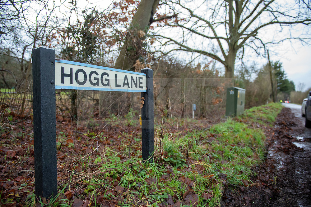© Licensed to London News Pictures. 21/12/2019. Borehamwood, UK. A street sign on Hogg Lane where Hertfordshire police were called to the discovery of a man's body on Friday 20th December around 15:38 GMT. London's Metropolitan Police are investigating and are linking the death to the murder of a man found with stab injuries in Scratchwood Park, Barnet in London on 19th December 2019. Photo credit: Peter Manning/LNP