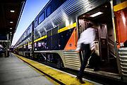 Joseph Barjis boards Amtrak's Capitol Corridor train in downtown Sacramento, California on August 16, 2015.