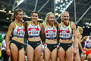 The German relay team after the Women's 4x400m relay during the Athletics World Cup at the London Stadium, London, England on 14 July 2018. Picture by Toyin Oshodi.