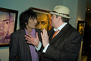 RONNIE WOOD AND PHILL JUPITUS, Ideas And Idols - private view of work by Paul Karslake.<br />