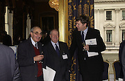 PROF JACK HAYWARD, PROF WILLIAM PETERSON AND PROF PATRICK DUNLEAVY. Political Studies Association awards, 2005. Institute of Directors. Pall Mall. London. 29 November 2005. ONE TIME USE ONLY - DO NOT ARCHIVE  © Copyright Photograph by Dafydd Jones 66 Stockwell Park Rd. London SW9 0DA Tel 020 7733 0108 www.dafjones.com
