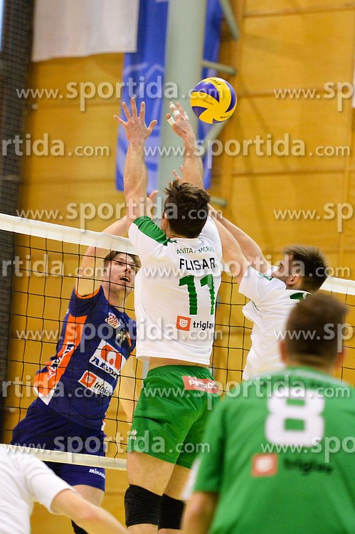 Jan Kolubcar  of ACH vs Gorazd Flisar during volleyball game between OK Panvita Pomgrad and ACH Volley in 2nd semifinal match of  Slovenian National Championship 2015, on April 5, 2015 in Murska Sobota, Slovenia. Photo by Mario Horvat / Sportida