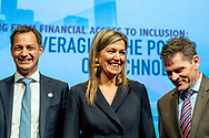 WASHINGTON - Queen Maxima together with doctor Kim at the World Bank in Washington. She takes part in the spring meeting of the World Bank Group. Maxima does this in its role as special advocate of the UN Secretary General for inclusive financing for development.  ROBIN UTRECHT