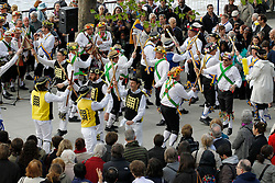 © Licensed to London News Pictures. 12/05/2012, London, UK.  Morris mens dance at the South Bank by the National Theatre in London as Morris men from around the country gather in London for a Westminster Morris Men Day of Dance, Saturday, May 12, 2012. Photo credit : Sang Tan/LNP