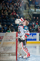 KELOWNA, CANADA - MARCH 5: Jordon Cooke #30 of the Kelowna Rockets stands in the crease against the Spokane Chiefs on March 5, 2014 at Prospera Place in Kelowna, British Columbia, Canada.   (Photo by Marissa Baecker/Getty Images)  *** Local Caption *** Jordon Cooke;