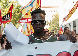 August 26, 2017 - Rome, Italy, Italy - demonstration in Rome today, motivated by the right to live with the words: Italians and migrants never more homeless, rights, dignity. To open the procession, the refugees again unleashed with the Hydrants from Independence Square on 24 August. (Credit Image: © Patrizia Cortellessa/Pacific Press via ZUMA Wire)