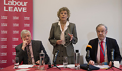 © Licensed to London News Pictures. 20/01/2016. London, UK. Kate Hoey MP, Graham Stringer MP (L) and party donor John Mills (R) help to launch the Labour Party's 'Labour Leave' EU referendum campaign.  A referendum on the United Kingdom's membership of the European Union may be held as soon as this summer.  Photo credit: Peter Macdiarmid/LNP