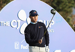 Oct 19, 2018-Jeju, South Korea-SI WOO KIM of South Korea action on the 10th tee during the PGA Golf CJ Cup Nine Bridges Round 2 at Nine Bridges Golf Club in Jeju, South Korea.