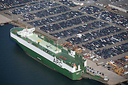 Transportation ship docked at imprt parking lot off the coast of New York, NY.