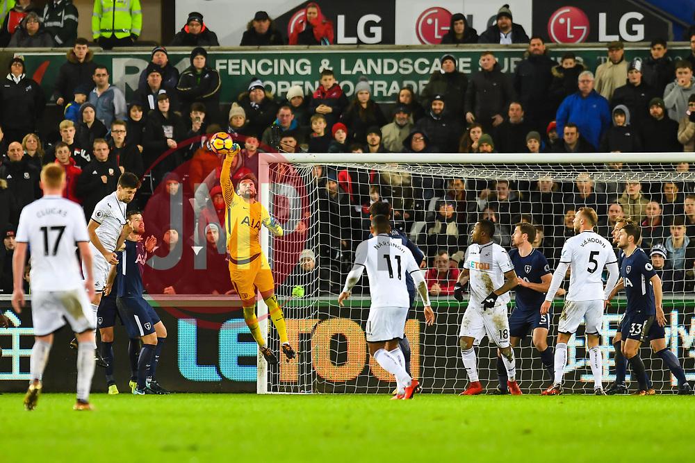 Hugo Lloris of Tottenham Hotspur punches clear - Mandatory by-line: Craig Thomas/JMP - 02/01/2018 - FOOTBALL - Liberty Stadium - Swansea, England - Swansea City v Tottenham Hotspur - Premier League