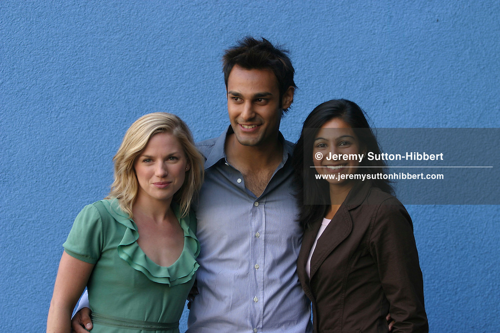 "Photocall for Ken Loach new movie ""Ae Fond Kiss"", at Edinburgh International Film Festival.  Actresses Eva Birthwhistle (on left), Shabana Bakhsh (on right) and actor Atta Yaqub (centre).(20 pictures, non-exclusive)"