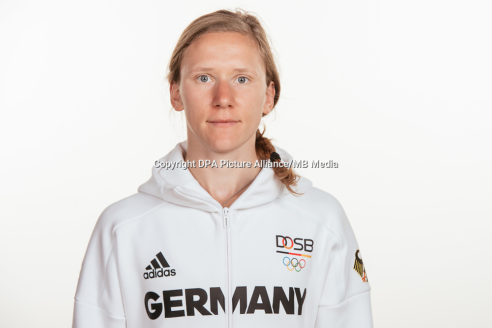 Fabienne Kohlmann poses at a photocall during the preparations for the Olympic Games in Rio at the Emmich Cambrai Barracks in Hanover, Germany, taken on 20/07/16 | usage worldwide