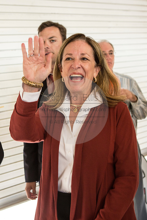 Democrat Elizabeth Colbert Busch waves to supporters during the Charleston Area Chamber of Commerce's Pork and Politics on April 30, 2013 in Charleston, South Carolina.