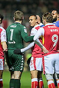 Peter Odemwingie (Rotherham United) is sent off for a foul on Liam Cooper (Leeds United). He receives a straight red during the EFL Sky Bet Championship match between Rotherham United and Leeds United at the New York Stadium, Rotherham, England on 26 November 2016. Photo by Mark P Doherty.