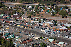 """Downtown Truckee Aerial 3"" - Downtown Truckee photographed from a small amphibious seaplane with the door removed."