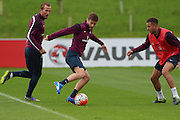England midfielder Adam Lallana attacks the defence during the England Training Session at St George's Park National Football Centre, Burton-Upon-Trent, United Kingdom on 7 October 2015. Photo by Aaron Lupton.