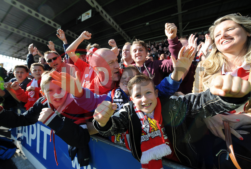 Bristol City fans enjoy their away trip at Chesterfield  - Photo mandatory by-line: Joe Meredith/JMP - Mobile: 07966 386802 - 25/04/2015 - SPORT - Football - Chesterfield - Proact Stadium - Chesterfield v Bristol City - Sky Bet League One