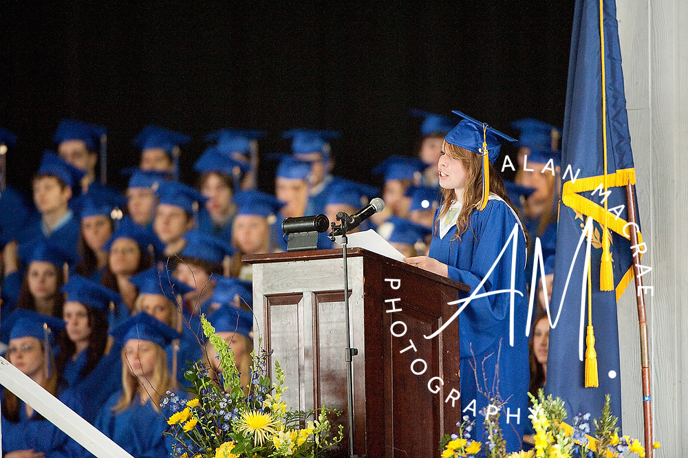 Gilford Class of 2010 valedictorian Brittany Colbath delivers her address during commencement exercises at Meadowbrook on Saturday, June 12, 2010.  (Alan MacRae/for the Citizen)
