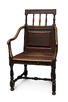 Antique old wooden armchair isolated silhouette with clipping path on white background