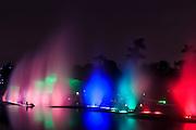 Colourful illuminated fountain, Magic Water Tour (El Circuito Magico del Agua) at the Park of the Reserve (Parque de la Reserva) Lima, Peru