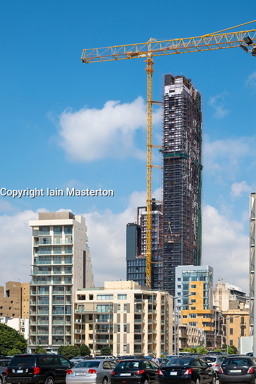 New skyscraper under construction in central down town district of Beirut, Lebanon