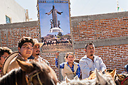 Mexican cowboys during Catholic mass at the San Martin de Terreros church during the annual Cabalgata de Cristo Rey pilgrimage January 4, 2017 in Guanajuato, Mexico. Thousands of Mexican cowboys and horse take part in the three-day ride to the mountaintop shrine of Cristo Rey stopping along the way at shrines and churches.