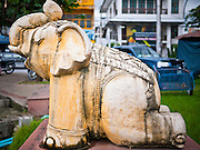 26 JUNE 2011 - CHIANG MAI, THAILAND:  A sculpture of an elephant on the ancient moat that surrounds Chiang Mai, Thailand. Chiang Mai is the cultural and political center of northern Thailand and was an independent kingdom within a walled city until the 19th century. PHOTO BY JACK KURTZ