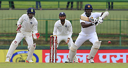 August 14, 2017 - Colombo, Sri Lanka - Sri Lankan cricketer Angelo Mathews plays a shot during the 3rd Day's play in the 3rd and final Test match between Sri Lanka and India at the Pallekele international cricket stadium at Kandy, Sri Lanka on Monday 14 August 2017. (Credit Image: © Tharaka Basnayaka/NurPhoto via ZUMA Press)