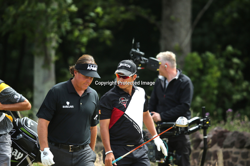 (L-R) Phil Mickelson (USA), Hideki Matsuyama (JPN),<br /> JULY 18, 2013 - Golf :<br /> Phil Mickelson of the United States and Hideki Matsuyama of Japan on 9th hole during the first round of the 142nd British Open Championship at Muirfield in Gullane, East Lothian, Scotland. (Photo by Koji Aoki/AFLO SPORT)