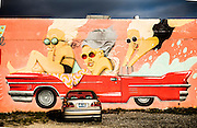 Mural in Wynwood by Barcelona-based Marina Capdevila features a hot pink Cadillac