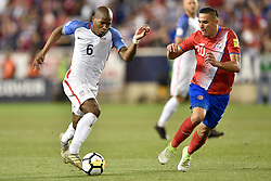 September 1, 2017 - Harrison, New Jersey, U.S - USMNT midfielder DARLINGTON NAGBE (6) takes the ball around Costa Rica forward MARCO UREÃ'A (21)  during a World Cup Qualifier at Red Bull Arena in Harrison New Jersey Costa Rica defeats USA 2 to 0 (Credit Image: © Brooks Von Arx via ZUMA Wire)