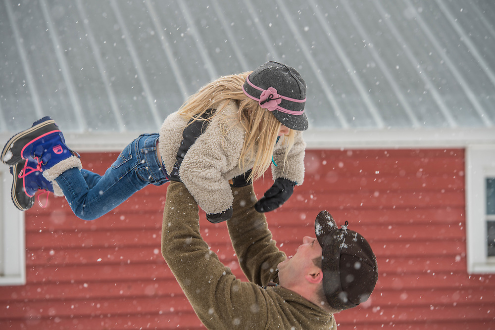 Snowy day family farm for Stormy Kromer.