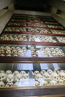 skulls at the Killing fields museum-Phnom Penh, Cambodia