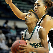 UNCW's Kelva Atkins looks to shoot over UNCP's Katelyn Mitchell Sunday November 16, 2014 at Trask Coliseum in Wilmington, N.C. (Jason A. Frizzelle)